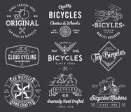 Os construtores da bicicleta ajustaram 1 branco no preto Foto de Stock
