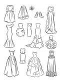 Os contornos de vestidos de casamento Foto de Stock Royalty Free