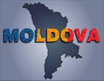 Os contornos do território da palavra de Moldova e de Moldova nas cores da bandeira nacional ilustração stock