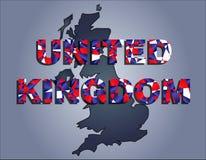 Os contornos do território da palavra de Reino Unido e de Reino Unido nas cores da bandeira nacional ilustração do vetor