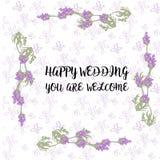 Os convites do casamento do vetor ajustaram-se com as flores da alfazema no fundo branco Design floral macio romântico para o cas ilustração royalty free
