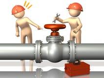 Os coordenadores do reboque inspecionarão a válvula. Imagem de Stock