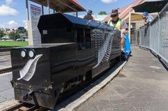 Os coordenadores modelo do entusiasta da estrada de ferro preparam o vintage que o trem diminuto pintou preto com o emblema da sa fotografia de stock royalty free