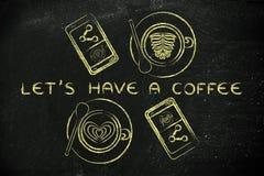 Os copos com arte do latte e os telefones, ilustração com texto deixaram-nos hav Foto de Stock