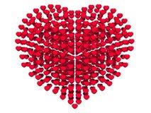 Os corações abstratos arranjam na forma do coração, 3d rendido, no fundo branco ilustração do vetor