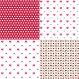 Os corações bonitos contornam 4 fundos sem emenda abstratos dos testes padrões para o papel de parede, teste padrão, Web, blogue, Fotografia de Stock Royalty Free