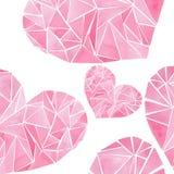 Os corações brilhantes do rosa do Valentim do feriado maravilhoso macio artístico bonito gráfico de cristal precioso geométrico b ilustração do vetor