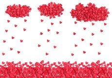 Os corações chovem dos doces polvilham, fundo sem emenda horizontal imagem de stock