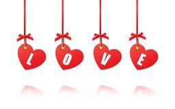 Os corações decorativos do Valentim no fundo branco ilustração do vetor