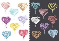 Os corações desenhados mão da cor ajustaram-se Imagem de Stock