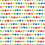 Os corações do arco-íris entregam tirado em um fundo branco Vector o teste padrão sem emenda Corações feitos a mão vermelhos amar ilustração royalty free