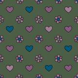 Os corações e as flores entregam a vetor tirado o teste padrão sem emenda Fundo da mola Textura do amor para o projeto de superfí ilustração do vetor