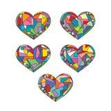 Os corações entregam ilustrações abstratas tiradas do vetor Mosaico geométrico do amor ajustado no estilo moderno ilustração royalty free