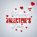 Os corações felizes do dia de Valentim iluminam - o fundo cinzento ilustração stock