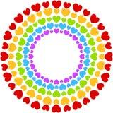 Os corações moldam o arco-íris colorido do partido