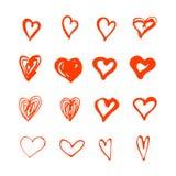Os corações tirados mão dão forma ao grupo ilustração stock