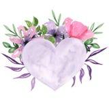 Os corações tirados mão da aquarela quadro o fundo ilustração royalty free