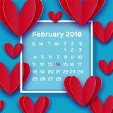 Os corações vermelhos do amor do voo no papel cortaram o estilo Calendário 2018 anos Dia feliz do ` s do Valentim do origâmi Feri Ilustração do Vetor