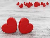 Os corações vermelhos do dia romântico bonito do ` s do Valentim no fundo de madeira 3d rendem ilustração stock