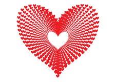 Os corações vermelhos modelam a formação da forma de um grande coração na perspectiva concêntrica do teste padrão do alinhamento  ilustração do vetor