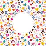 Os corações da harmonia do amor da natureza florescem o fundo do quadro do círculo dos desenhos animados do divertimento Imagem de Stock