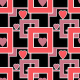 Os corações geométricos dos elementos do teste padrão brilhante sem emenda texture o backgr Fotografia de Stock Royalty Free
