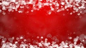Os corações moldam no fundo vermelho Cartão abstrato do dia dos Valentim vídeos de arquivo