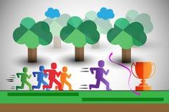 Os corredores coloridos na raça, igualmente representam o líder da equipa, o vencedor etc. Imagem de Stock