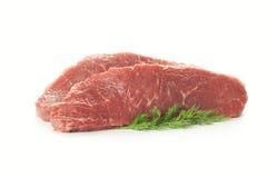 Os cortes de carne frescos/isolaram-se no branco Fotos de Stock Royalty Free