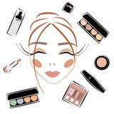 Os cosméticos ajustaram composição ajustada do vetor do esboço foto de stock royalty free