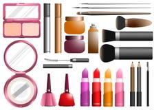 Os cosméticos ajustaram o instrumento da beleza Imagens de Stock Royalty Free