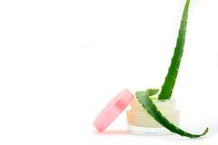 Os cosméticos desnatam com aloés vera Foto de Stock Royalty Free