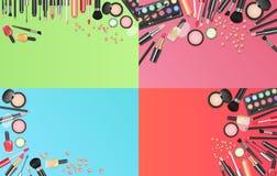 Os cosméticos formam o fundo com compõem ferramentas do artista Coloque sua ilustração do vetor do molde do texto ilustração stock