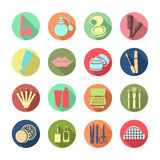 Os cosméticos vector ícone ajustado Ícones coloridos com produtos cosméticos e os elementos Imagens de Stock