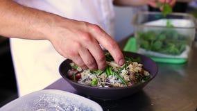 Os cozinheiros chefe entregam a colocação dos toques finais sobre um prato da massa feito de Fusilli filme