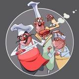 Os cozinheiros engraçados dos desenhos animados três prepararam o alimento Imagem de Stock