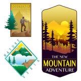 Os crachás ajardinam o projeto da floresta da montanha da natureza ilustração royalty free