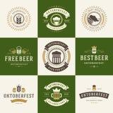 Os crachás e os logotipos ajustaram o festival Oktoberfest da cerveja Imagem de Stock