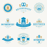 Os crachás e os logotipos ajustaram o festival Oktoberfest da cerveja Fotografia de Stock Royalty Free