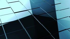 Os cubos abstratos metálicos estão girando, a animação 3d ilustração stock