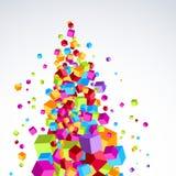 Os cubos brilhantes coloridos fluem o formulário a árvore-como o objeto Fotos de Stock
