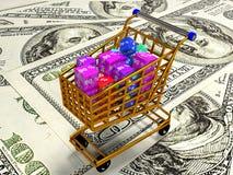 Os cubos com por cento no trole da compra, 3d rendem Foto de Stock Royalty Free