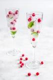 Os cubos de gelo com bagas e hortelã nos vidros para o verão bebem o fundo branco Fotografia de Stock Royalty Free