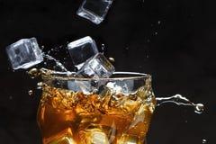Os cubos de gelo derramam em um vidro com álcool espirra imagem de stock royalty free