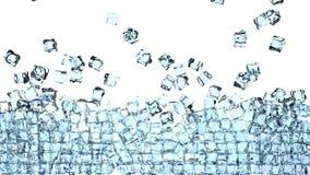 os cubos de gelo 4K estão caindo para baixo em um branco e estão formando uma parede na frente da câmera