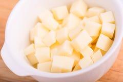 Os cubos do queijo fecham-se acima Imagem de Stock Royalty Free