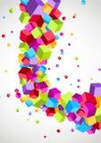 Os cubos voam o fundo colorido da onda do swoosh Imagem de Stock