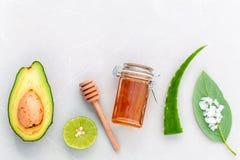 Os cuidados com a pele alternativos e esfregam o abacate fresco, folhas, mar sa Fotografia de Stock Royalty Free