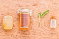 Os cuidados com a pele alternativos e esfregam o sábio fresco, tomilho, sabão, hony Foto de Stock Royalty Free