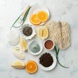 Os cuidados com a pele caseiros e o corpo esfregam e máscara com aloés natural vera dos ingredientes, limão, café, laranjas,  imagens de stock
